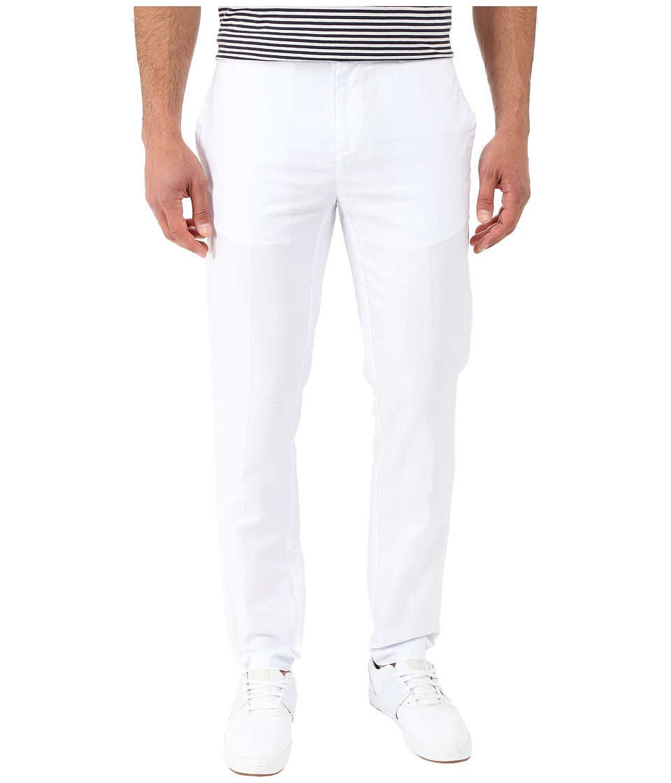 Calvin Klein - Cotton Linen Dobby Pants (White) Men's Casual Pants