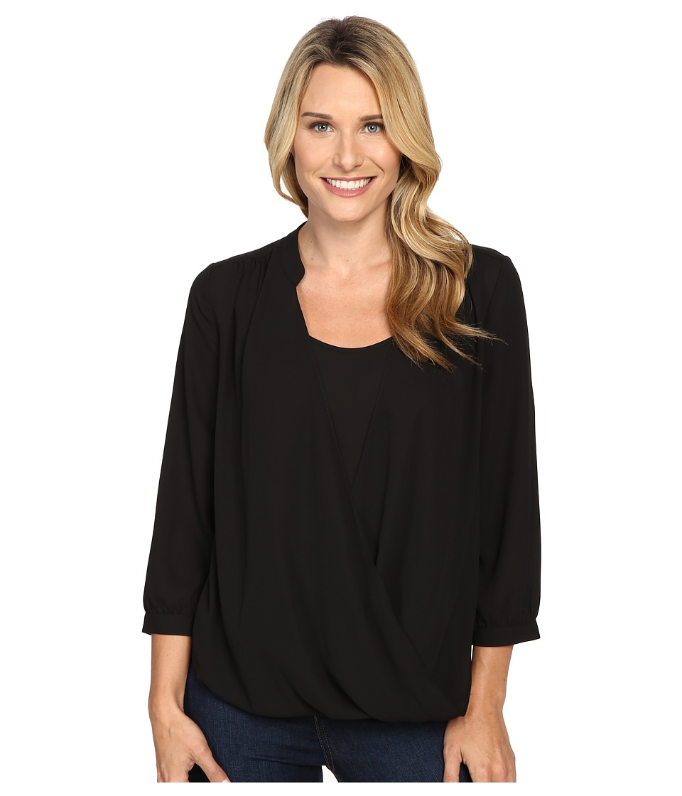 NYDJ - Drape Front Blouse w/ Cami (Black) Women's Blouse