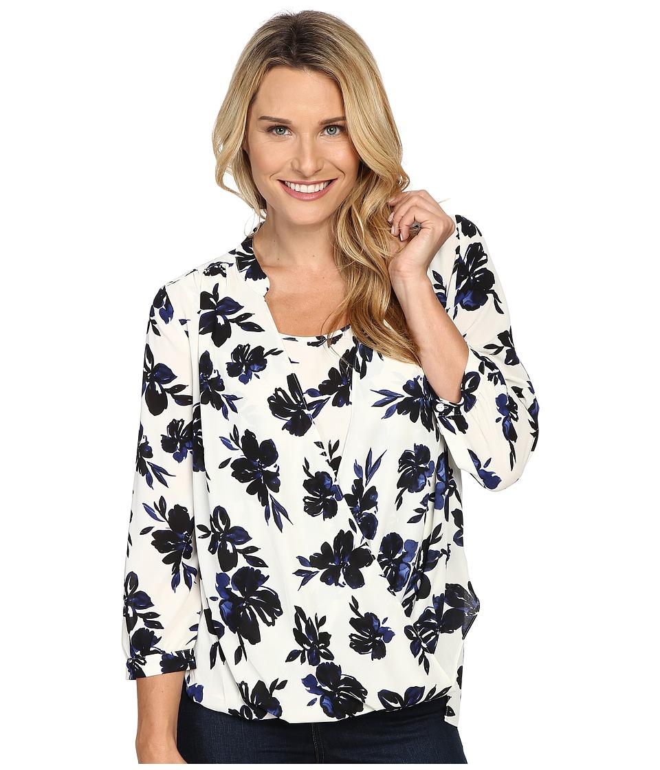 NYDJ - Drape Front Blouse w/ Cami (Fair Lady Floral Vanilla) Women's Blouse
