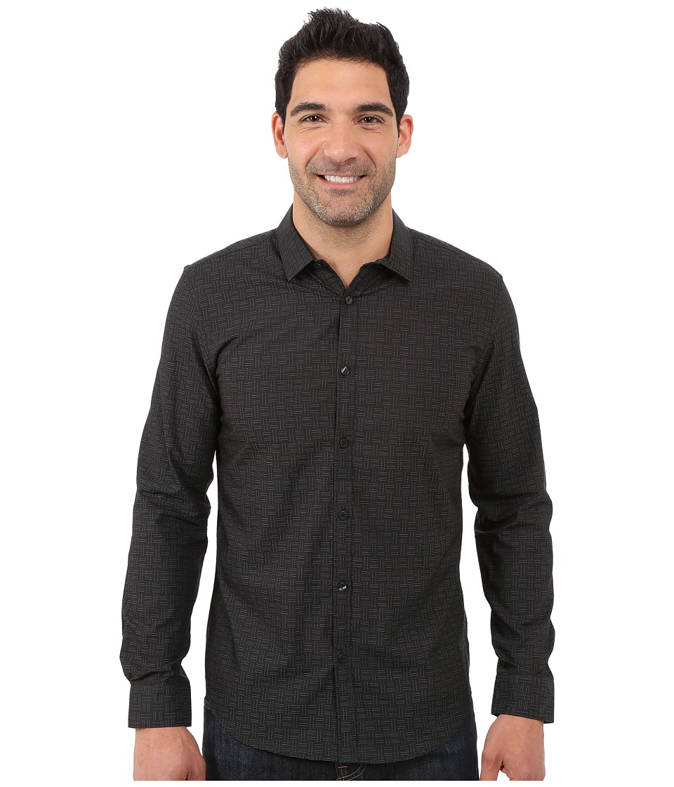 Calvin Klein - Long Sleeve Crosshatch Dobby Woven Shirt (Black) Men's Long Sleeve Button Up