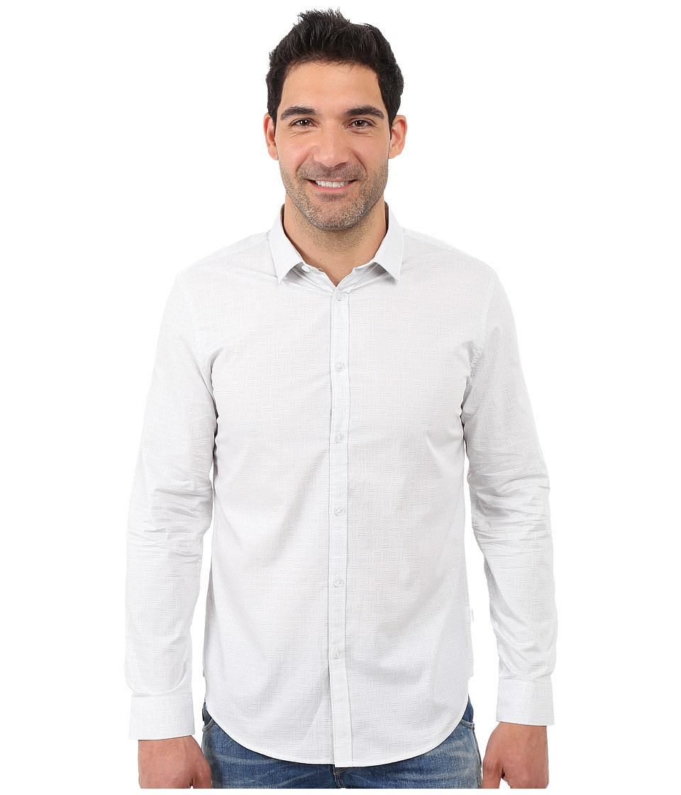 Calvin Klein - Long Sleeve Crosshatch Dobby Woven Shirt (White) Men's Long Sleeve Button Up