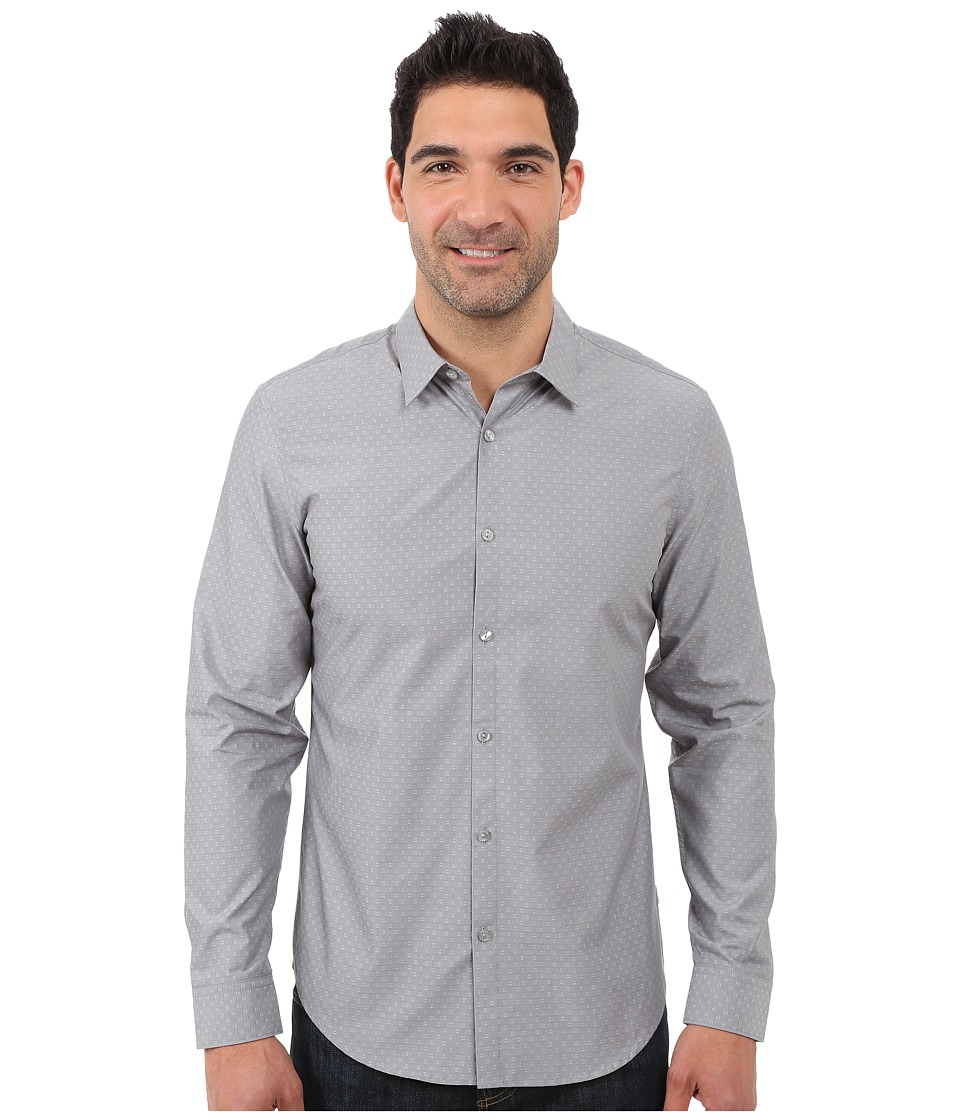 Calvin Klein - Long Sleeve Vertical Dash Dobby Woven Shirt (Dawn Grey) Men's Long Sleeve Button Up