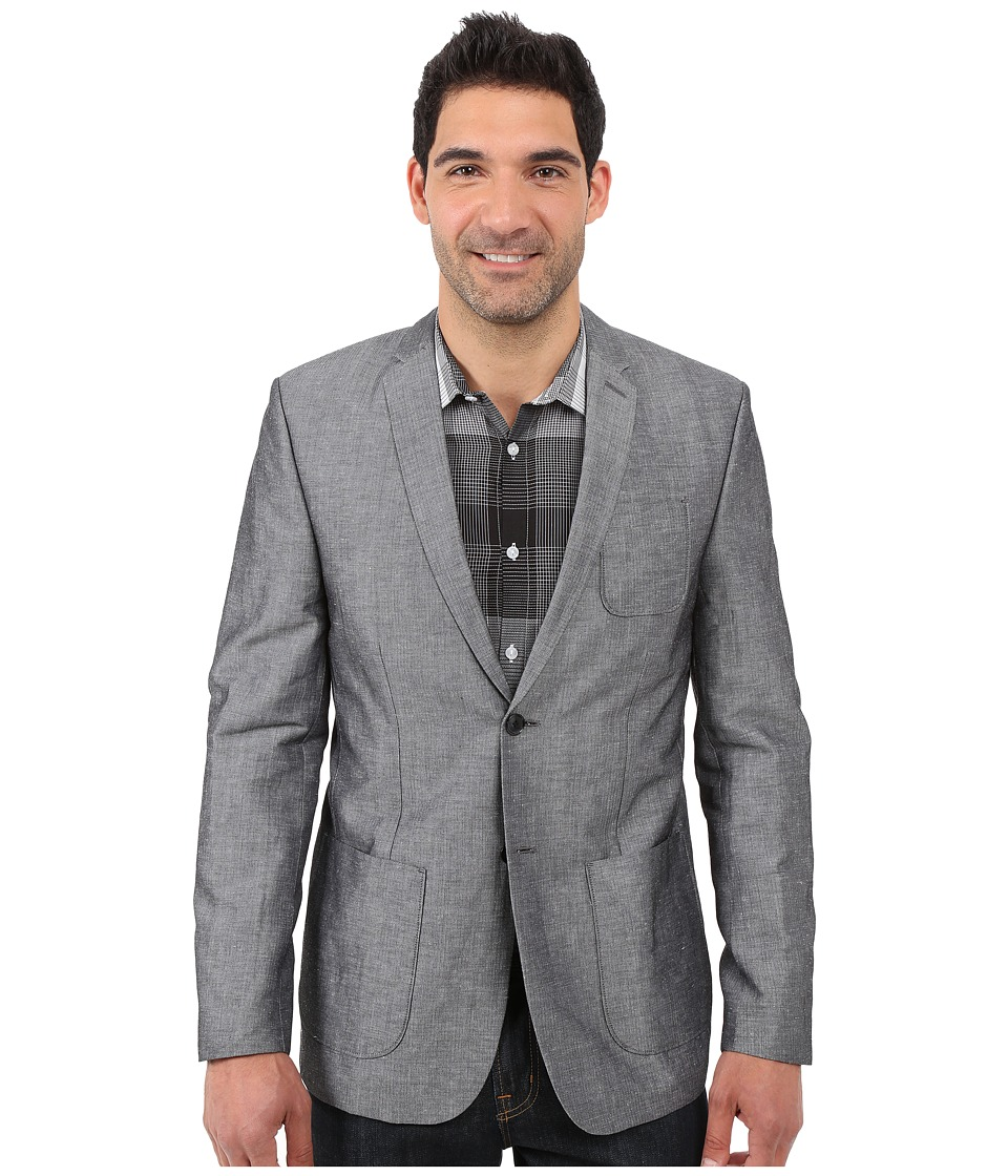Calvin Klein - Linen Herringbone Hopsack Jacket (Black) Men's Jacket
