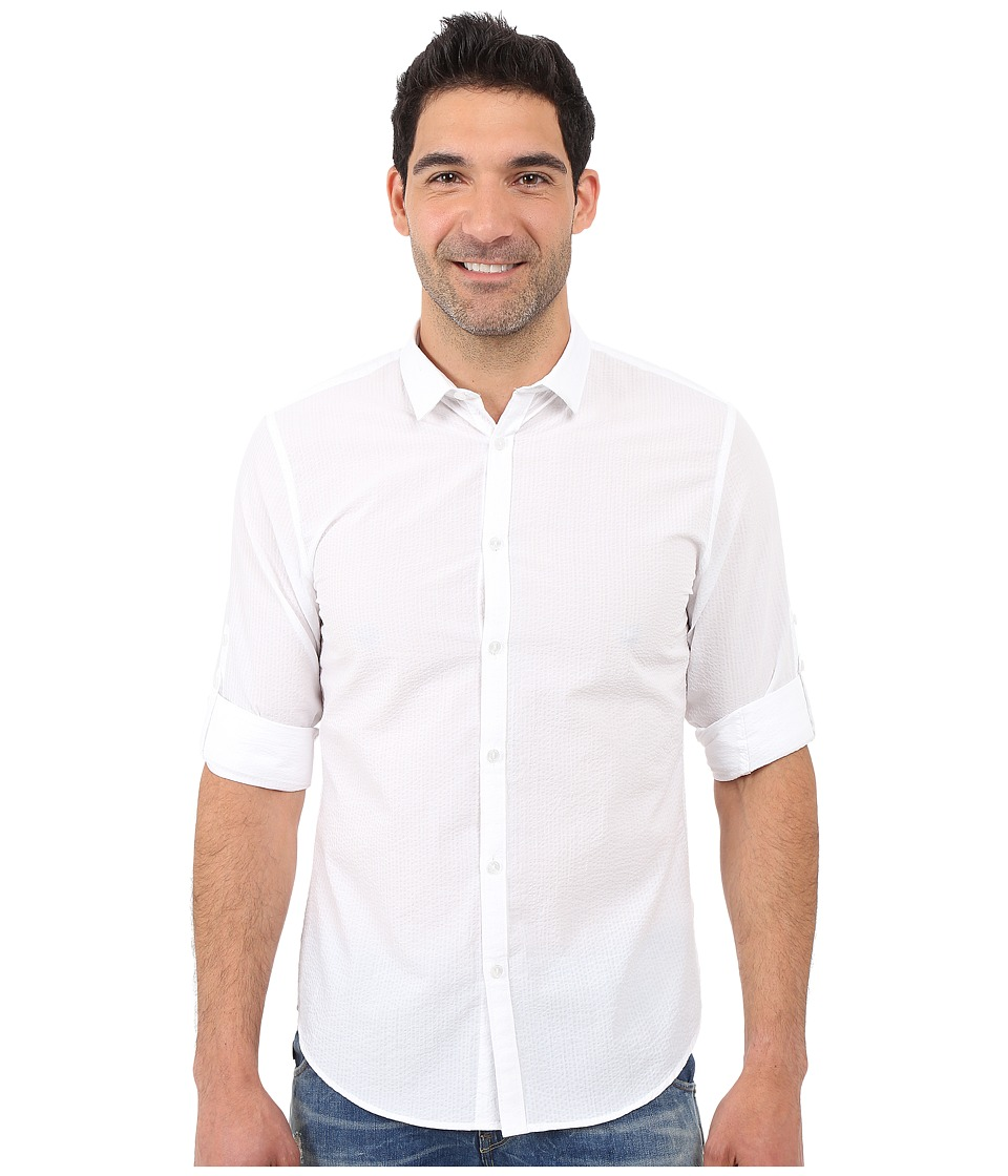 Calvin Klein - Long Sleeve Piece Dye Seersucker Shirt (White) Men's Long Sleeve Button Up