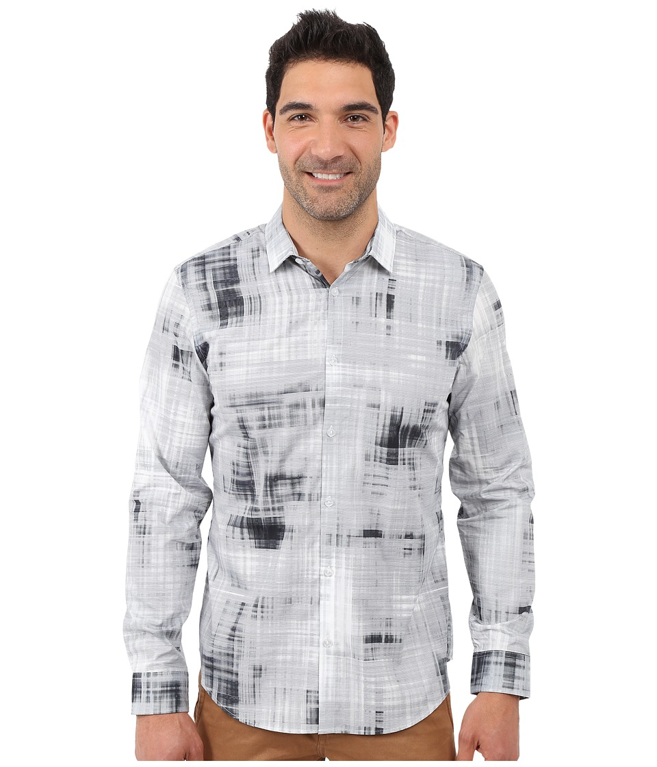 Calvin Klein - Long Sleeve Blur Plaid Printed Woven Shirt (White) Men's Long Sleeve Button Up