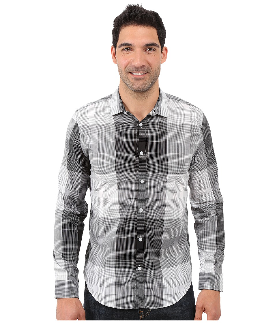 Calvin Klein - Long Sleeve Voile Plaid Woven Shirt (White) Men's Long Sleeve Button Up