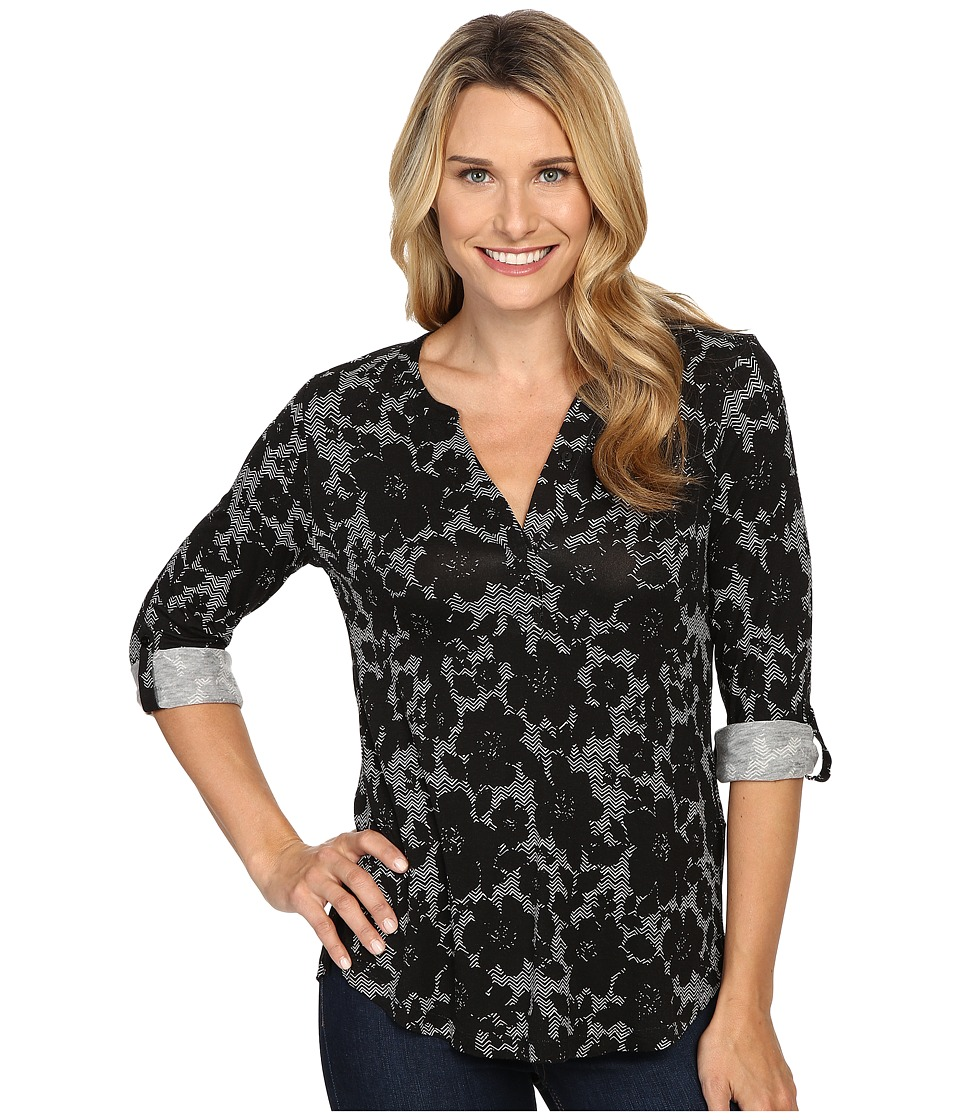 NYDJ - Key Item Knit Henley (Mod Floral Black) Women's Clothing