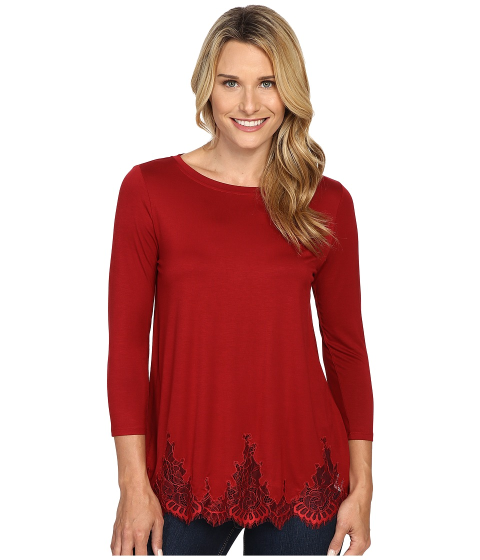 NYDJ - Lace Hem Fashion Knit Top (Carmine) Women's Clothing