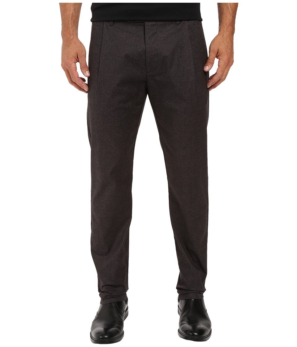Calvin Klein - Tonal Printed Pleated Pants (Black) Men's Casual Pants