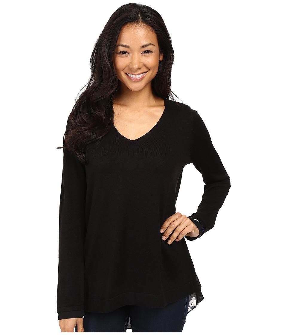 NYDJ - Key Item Mixed Media Sweater (English Garden Black) Women's Sweater