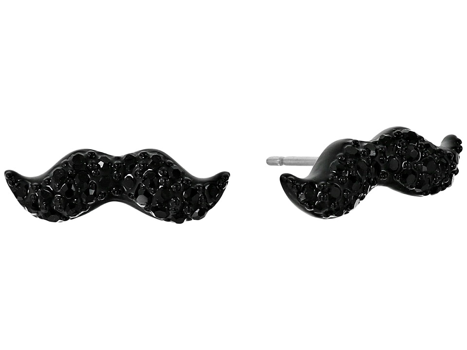 Kate Spade New York - Dress The Part Mustache Studs Earrings (Black Multi) Earring