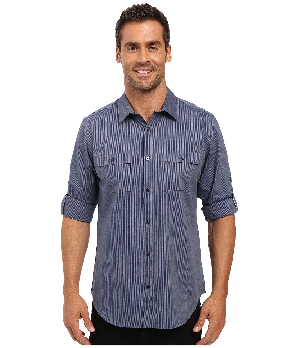 Calvin Klein - Long Sleeve Yarn-Dye Denim Stripe Rollup Woven Shirt (Dress Blue) Men's Long Sleeve Button Up