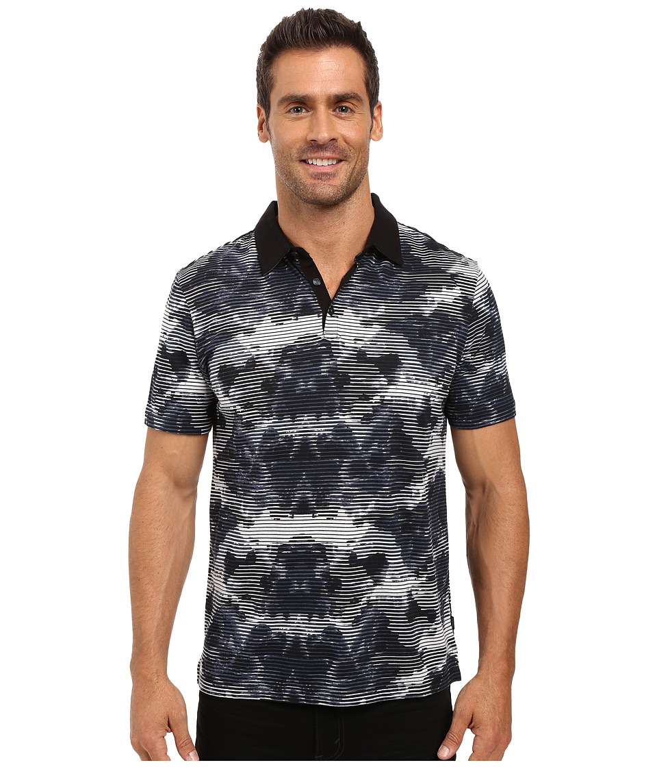 Calvin Klein - Short Sleeve All Over Printed Polo w/ Contrast Collar (Black) Men's Short Sleeve Pullover