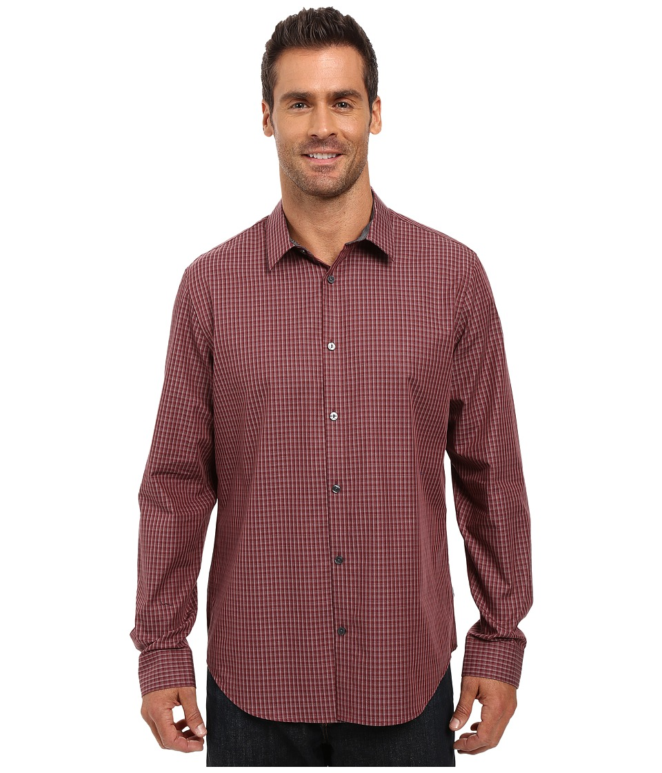 Calvin Klein - Long Sleeve Tonal Mini Check Woven Shirt (Barberry) Men's Long Sleeve Button Up
