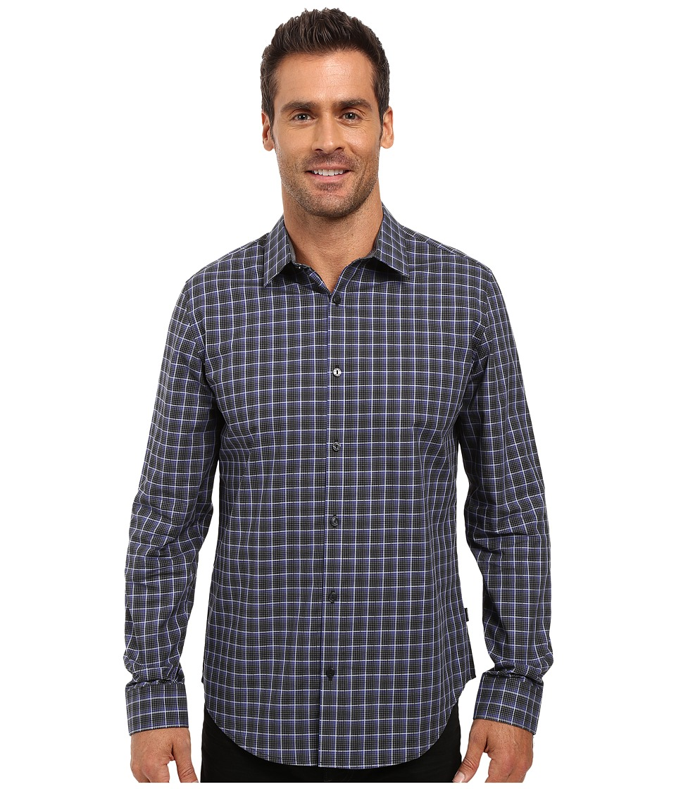 Calvin Klein - Long Sleeve Yarn-Dye Poplin Twill Check Woven Shirt (Mulberry Grape) Men's Long Sleeve Button Up