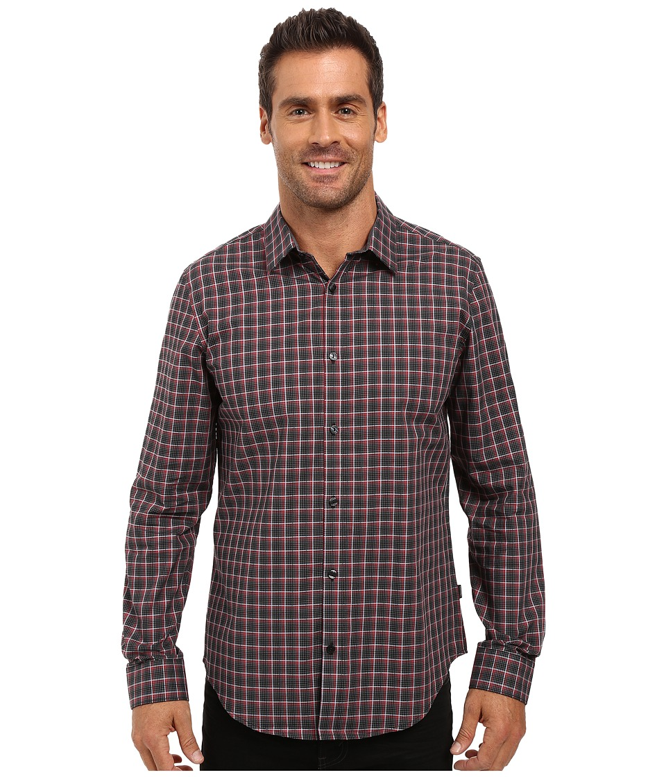 Calvin Klein - Long Sleeve Yarn-Dye Poplin Twill Check Woven Shirt (Victory) Men's Long Sleeve Button Up
