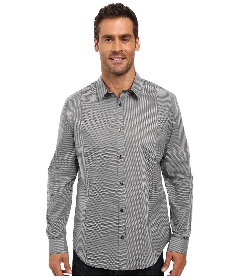 Calvin Klein - Long Sleeve Micro Printed Woven Shirt (Black) Men's Long Sleeve Button Up