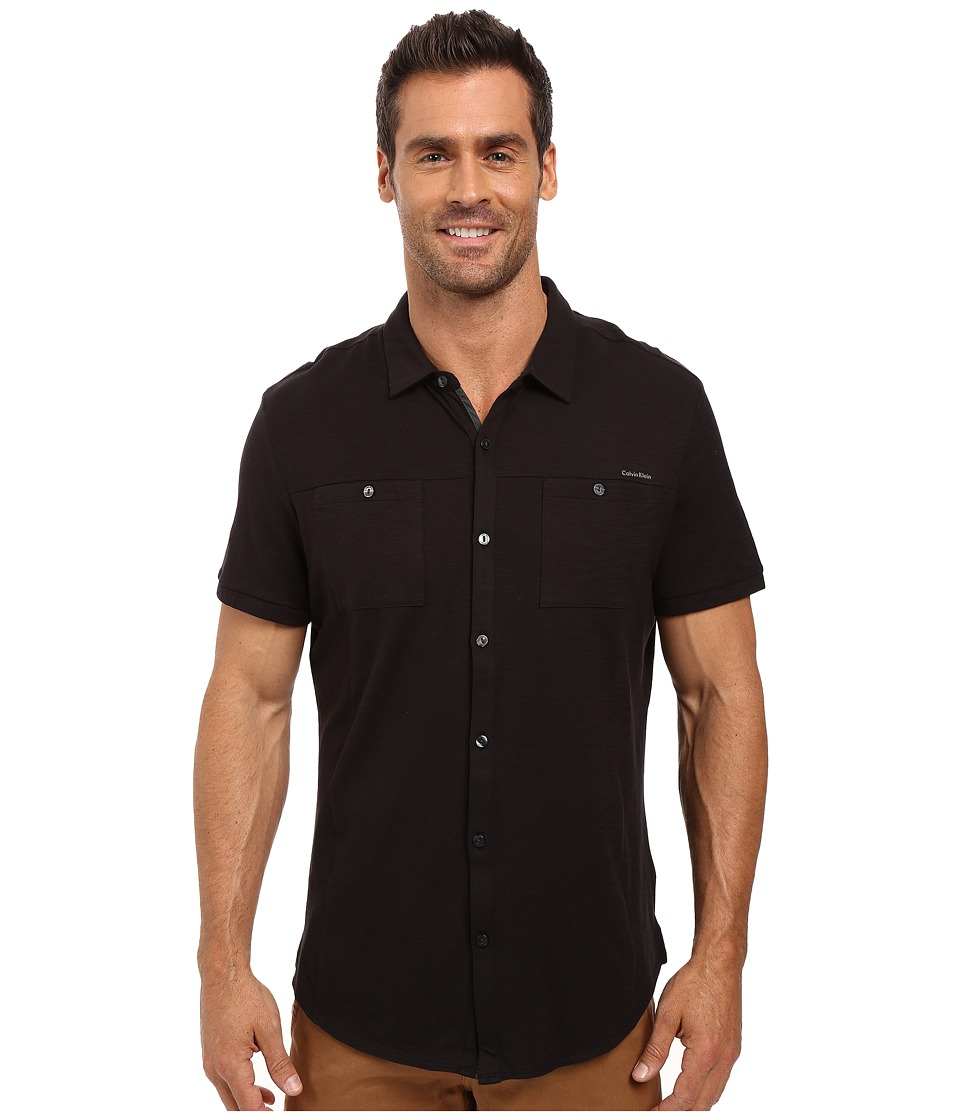 Calvin Klein - Liquid Cotton Short Sleeve Coat Front Polo (Black) Men's Short Sleeve Button Up