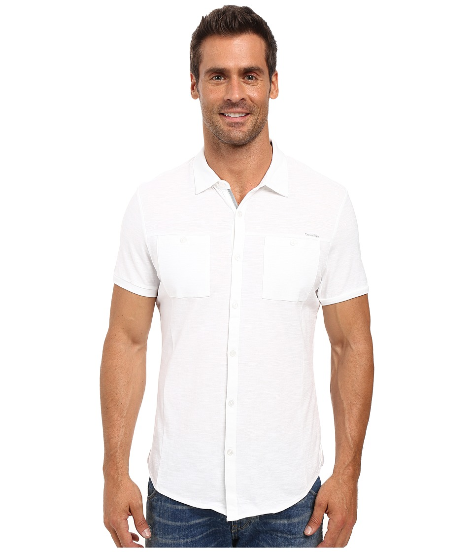 Calvin Klein - Liquid Cotton Short Sleeve Coat Front Polo (White) Men's Short Sleeve Button Up