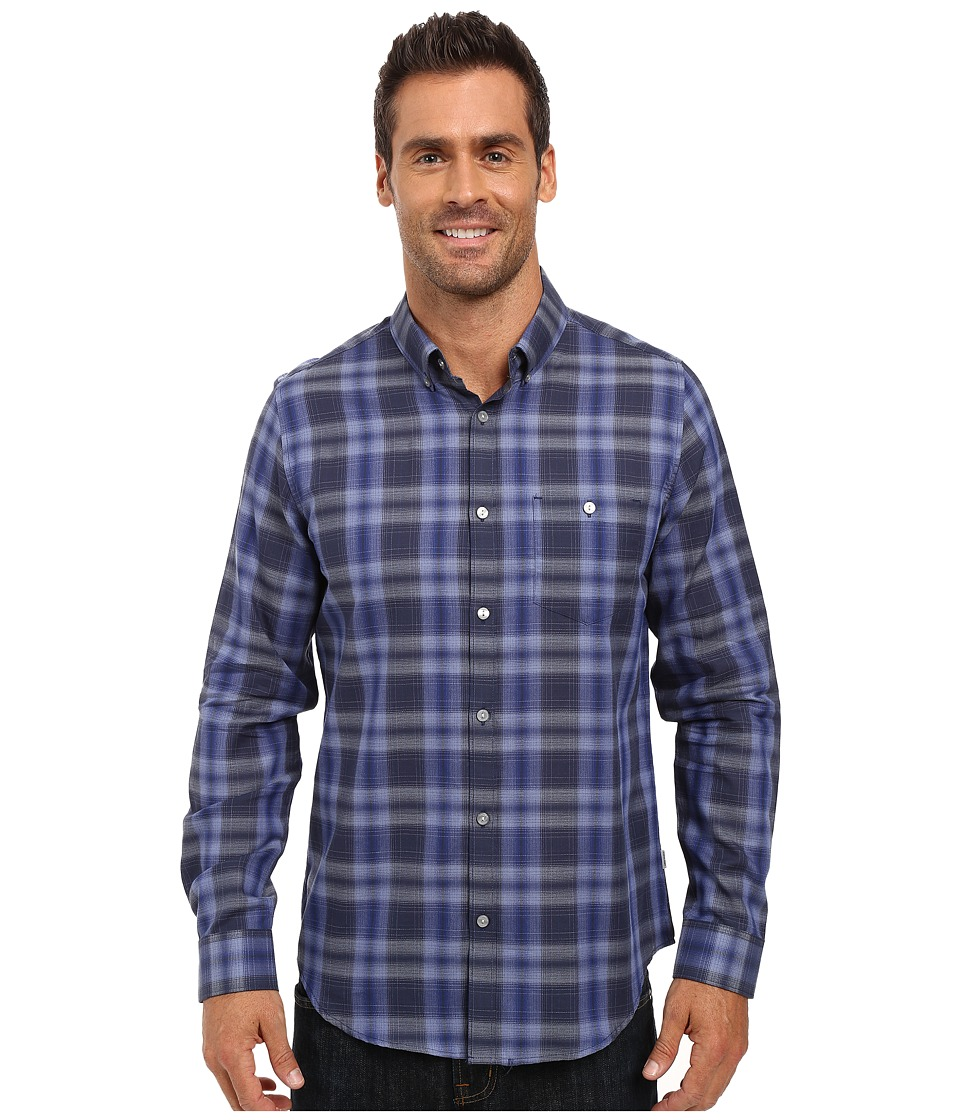 Calvin Klein - Long Sleeve Yarn-Dyed Light Plaid Woven Shirt (Violet Storm) Men's Long Sleeve Button Up