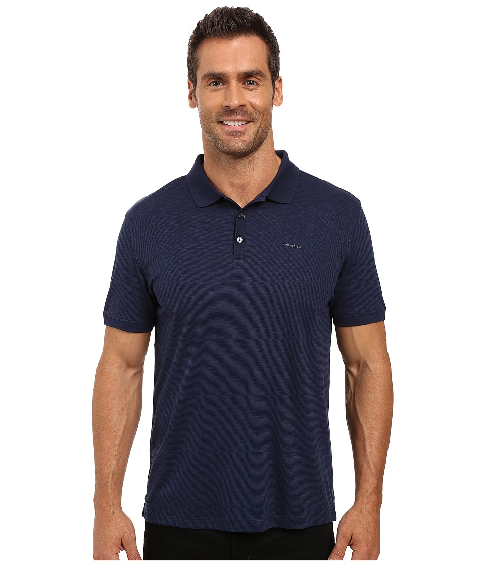 Calvin Klein - Short Sleeve Flat Knit Placket Cotton Tencel Polo (Atlantis) Men's Short Sleeve Pullover