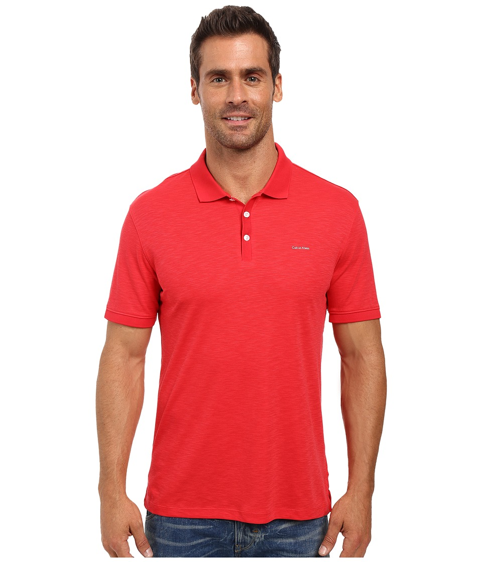 Calvin Klein - Short Sleeve Flat Knit Placket Cotton Tencel Polo (Congo Red) Men's Short Sleeve Pullover