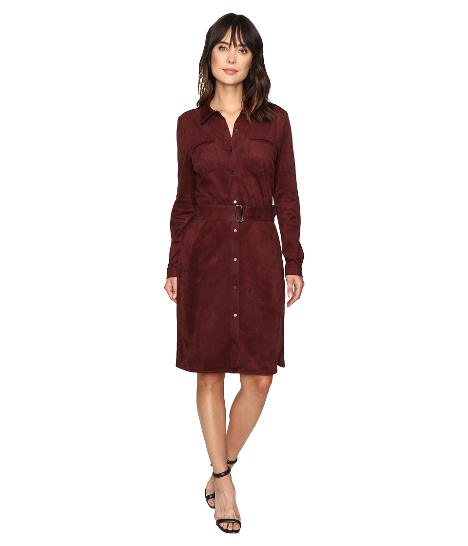 NYDJ - Allison Faux Suede Shirtdress (Mahogany Wood) Women's Dress