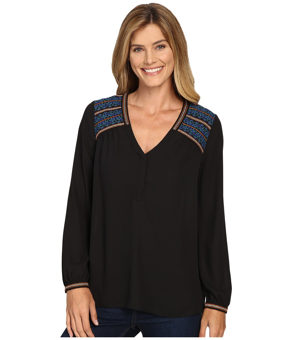 NYDJ - Embroidered Top (Black) Women's Clothing