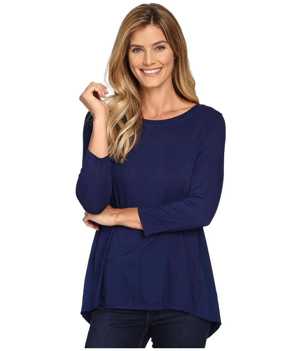 NYDJ - Mixed Drape Back Knit Top (Nightshade Blue) Women's Clothing