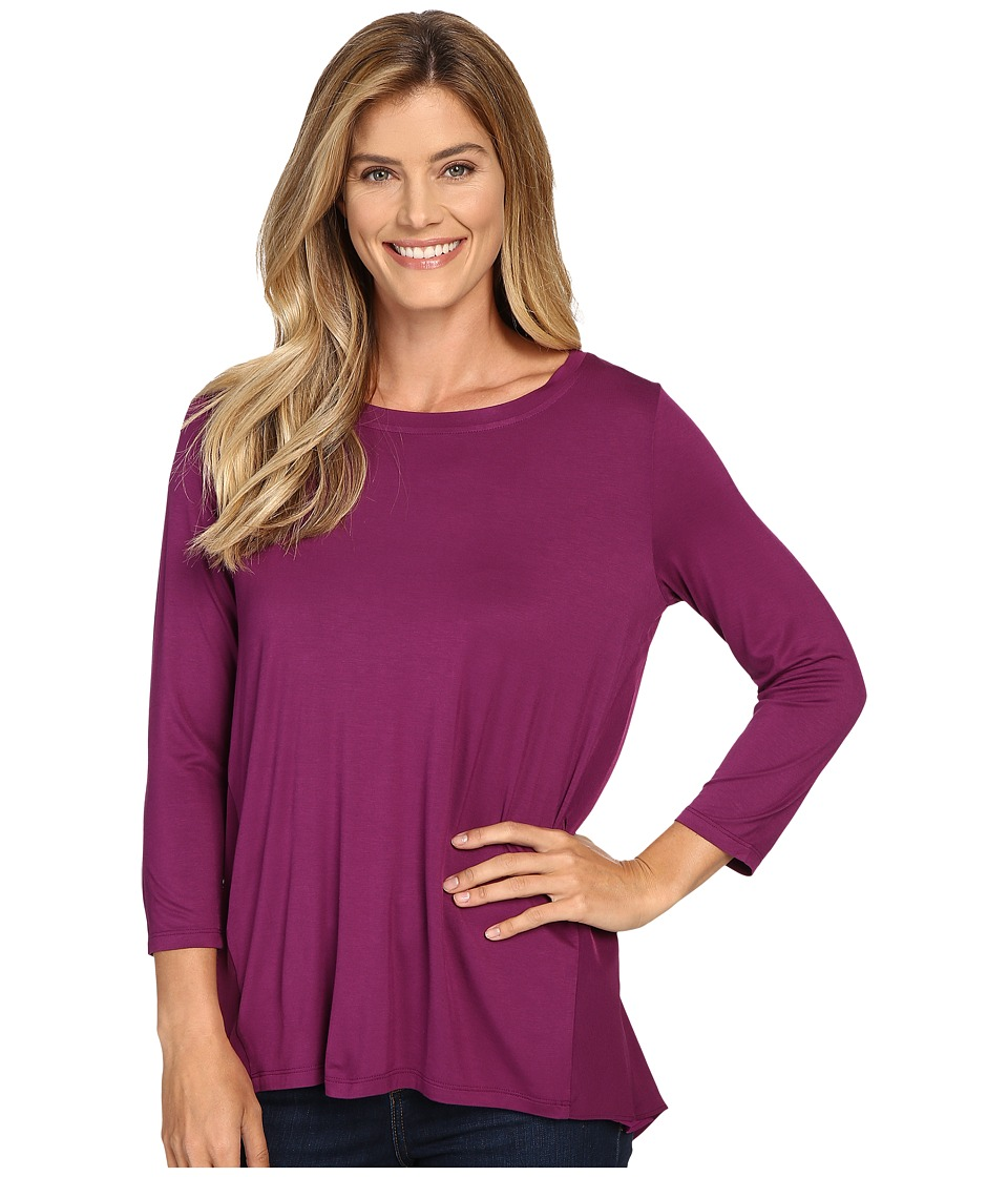 NYDJ - Mixed Drape Back Knit Top (Dark Currant) Women's Clothing