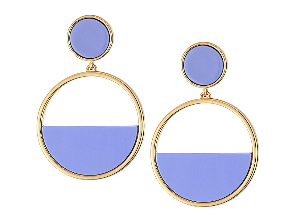 Kate Spade New York - Set The Tone Drop Hoop Earrings (Blue Multi) Earring