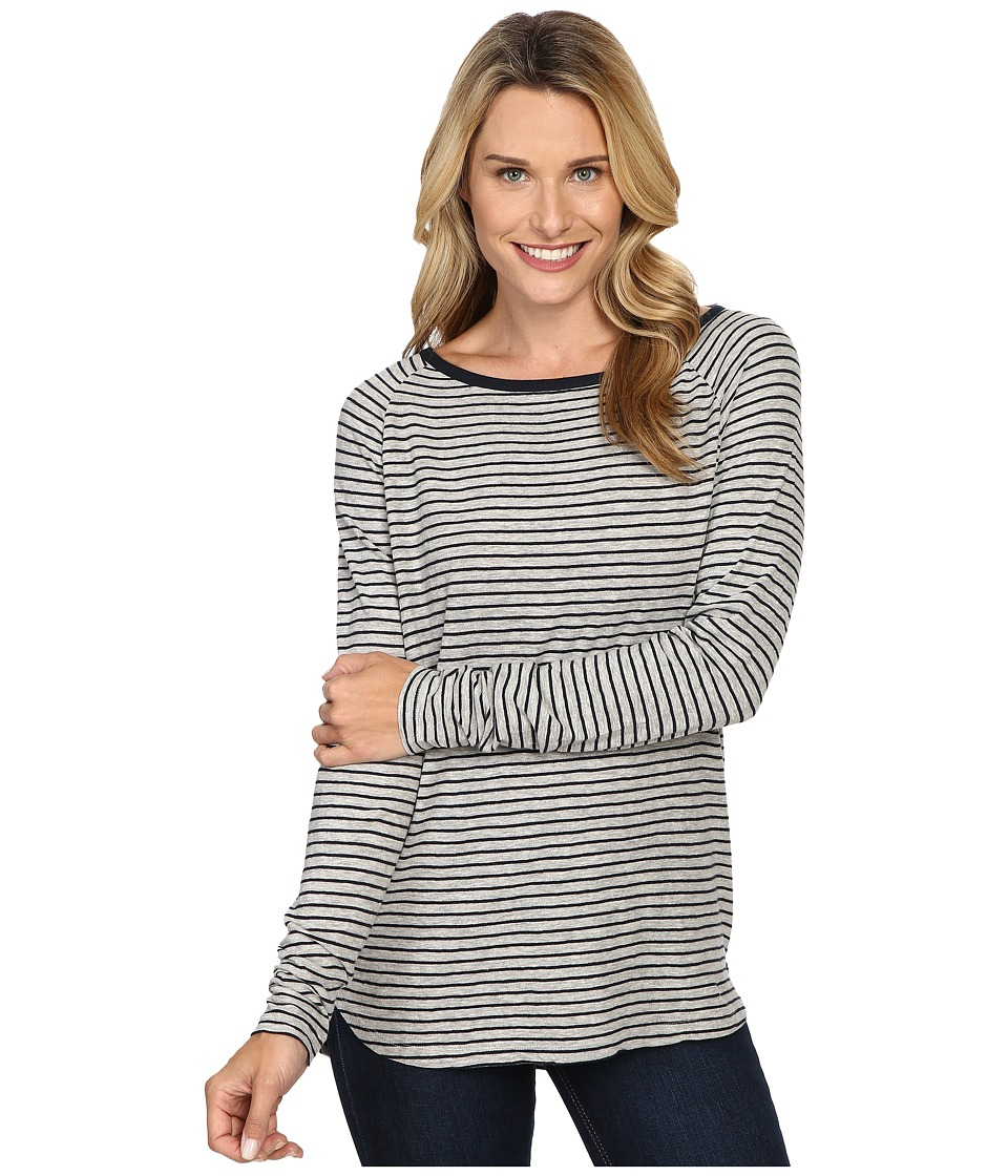 Jag Jeans - Brier Stripe Tee Classic Fit Shirt Striped Jersey (Heather Grey/White) Women's T Shirt