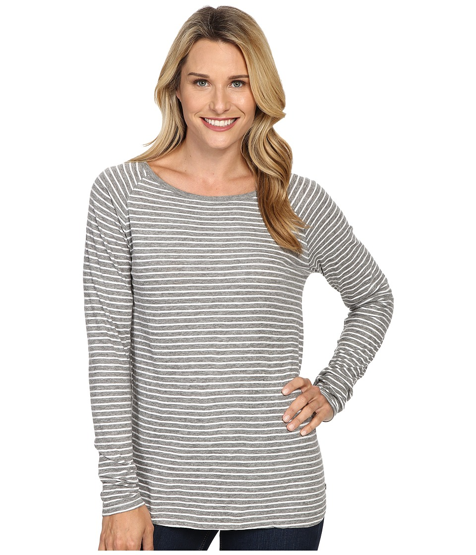 Jag Jeans Brier Stripe Tee Classic Fit Shirt Striped Jersey (Medium Heather Grey/White) Women