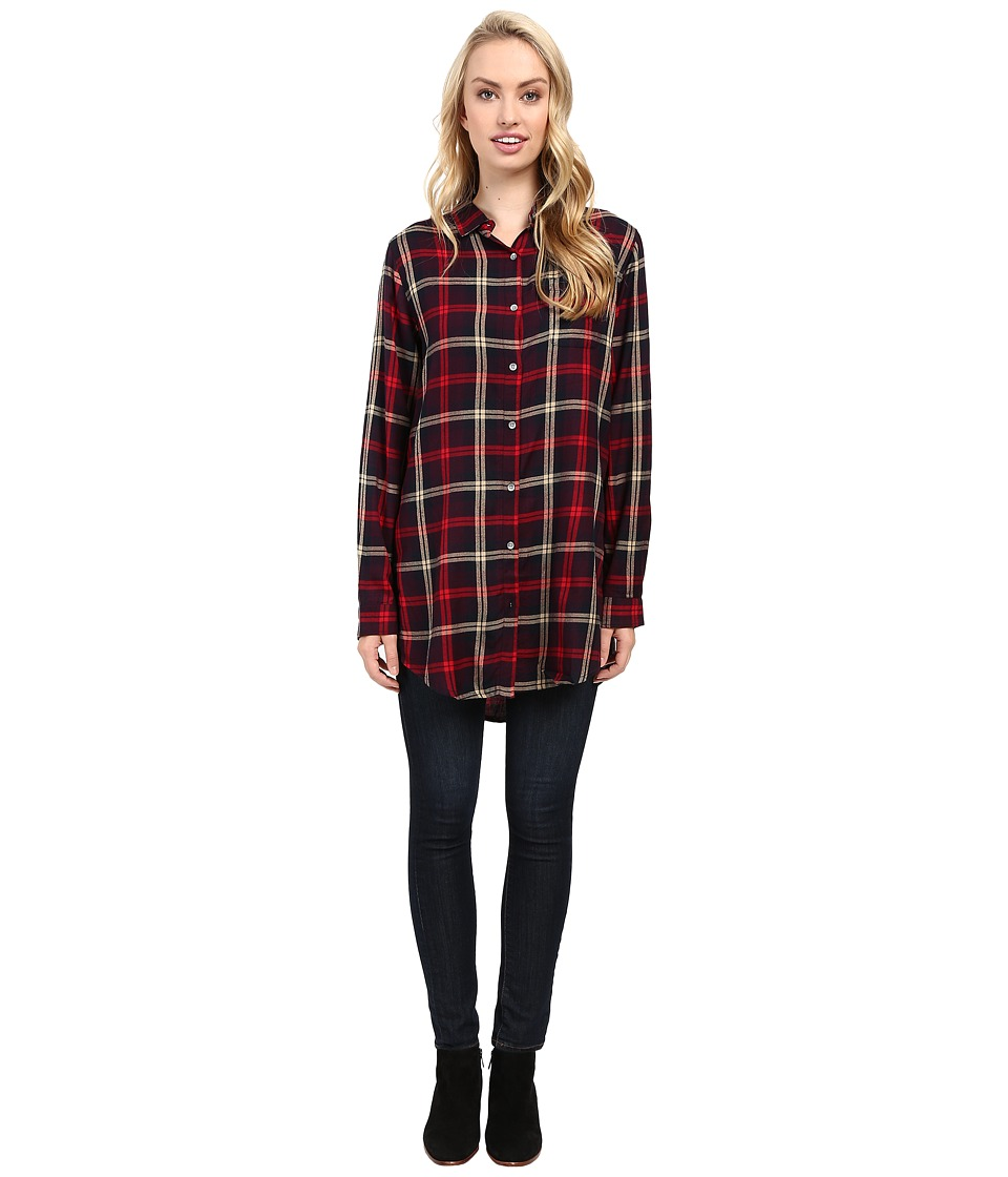 Jag Jeans - Magnolia Tunic Rayon Yd Plaid in Burgundy (Burgundy) Women's Clothing