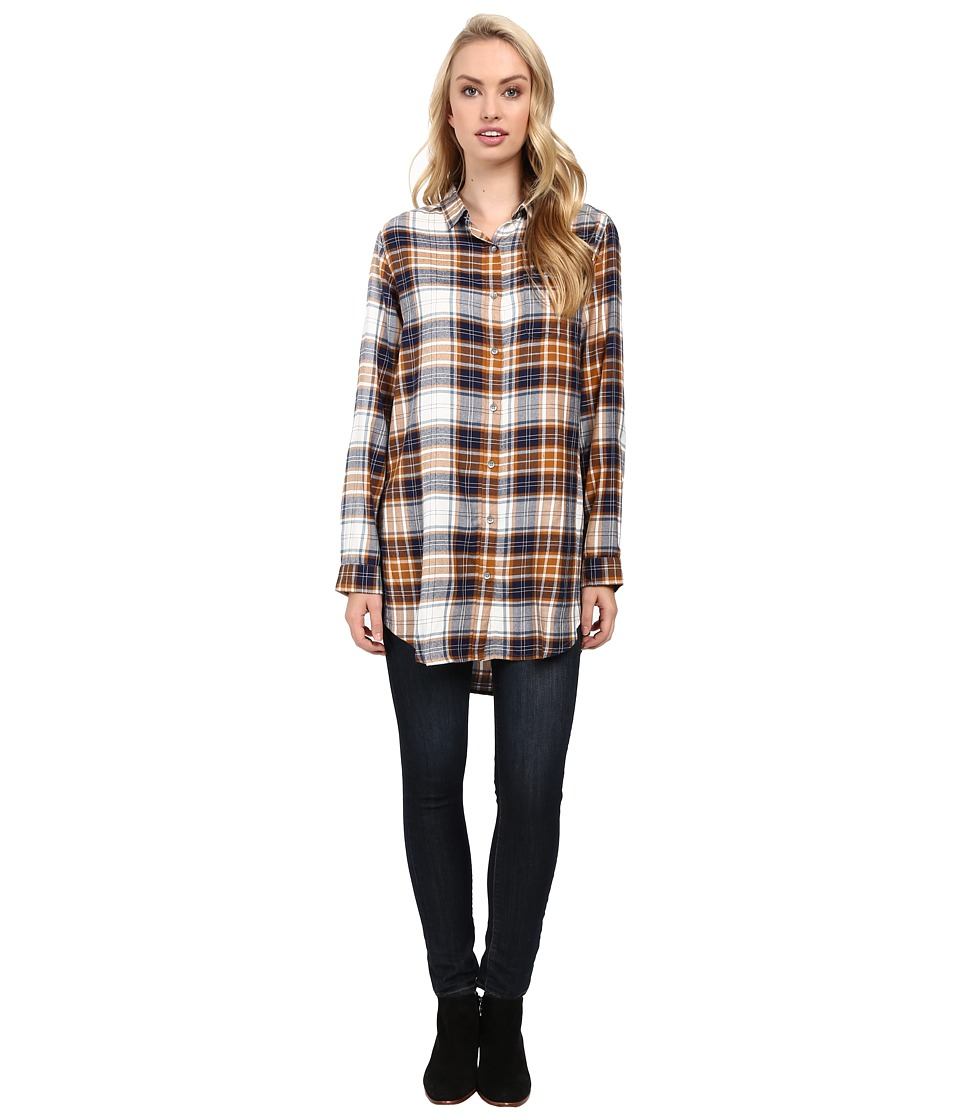 Jag Jeans - Magnolia Tunic Rayon Yd Plaid in Camel (Camel) Women's Clothing