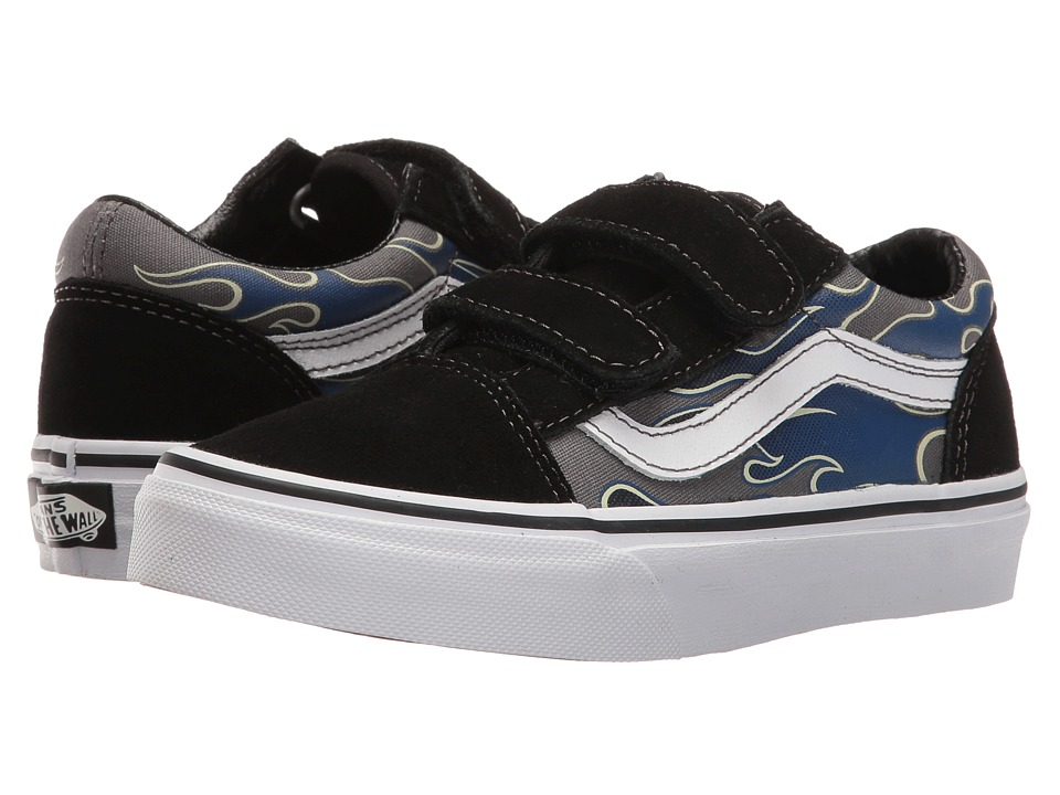 Vans Kids Old Skool V (Little Kid/Big Kid) ((Glow Flame) True Blue/Pewter) Boys Shoes