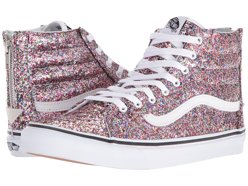 Vans - SK8-Hi Slim Zip ((Chunky Glitter) True White) Skate Shoes