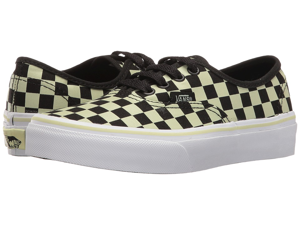Vans Kids Authentic (Little Kid/Big Kid) ((Glow Check) Black/True White) Boys Shoes