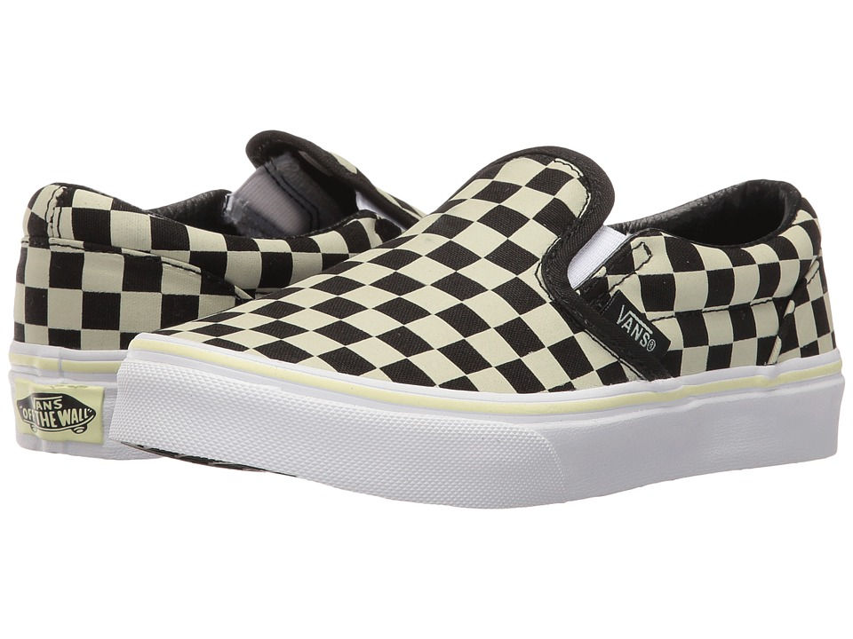 Vans Kids Classic Slip-On (Little Kid/Big Kid) ((Glow Check) Black/True White) Boys Shoes