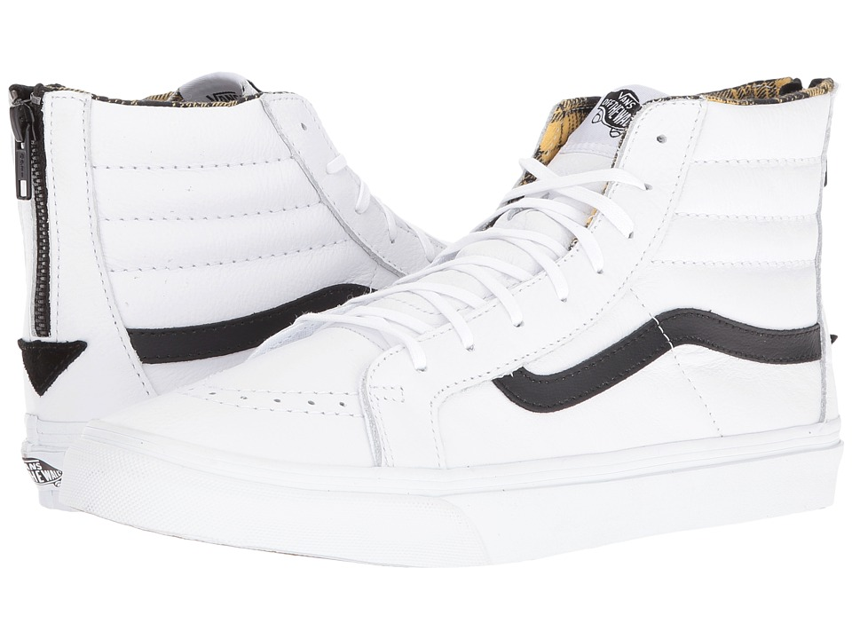 Vans - SK8-Hi Slim Zip ((Plaid Flannel) True White/Black) Skate Shoes