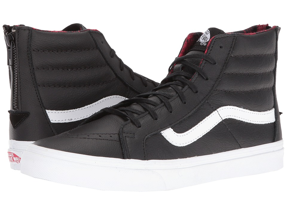 Vans - SK8-Hi Slim Zip ((Plaid Flannel) Black/True White) Skate Shoes