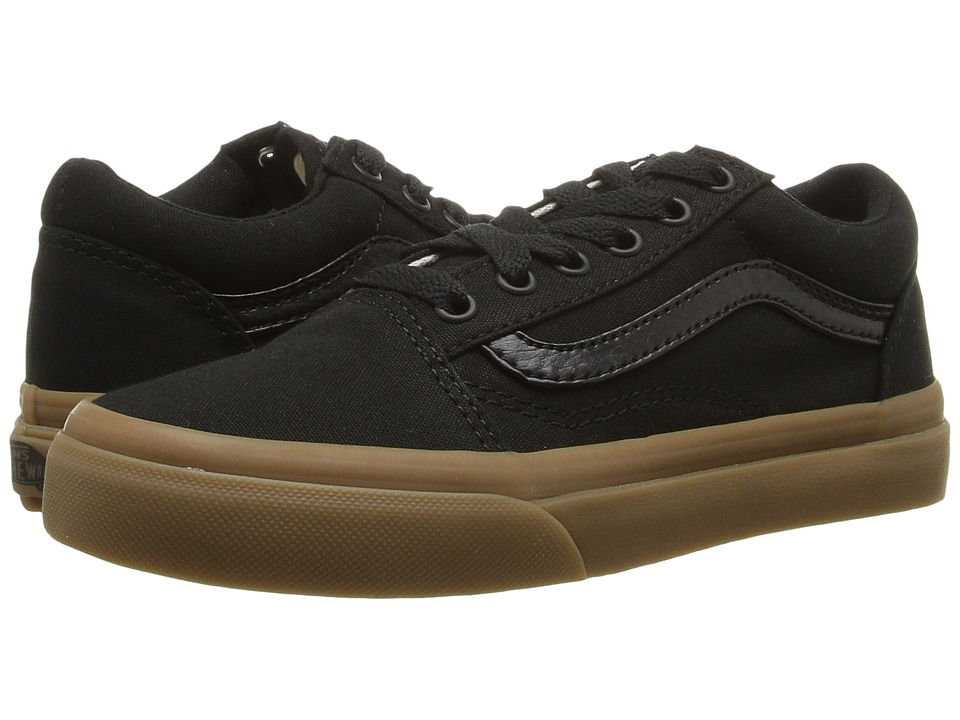 Vans Kids - Old Skool (Little Kid/Big Kid) ((Canvas Gum) Black/Light Gum) Boys Shoes