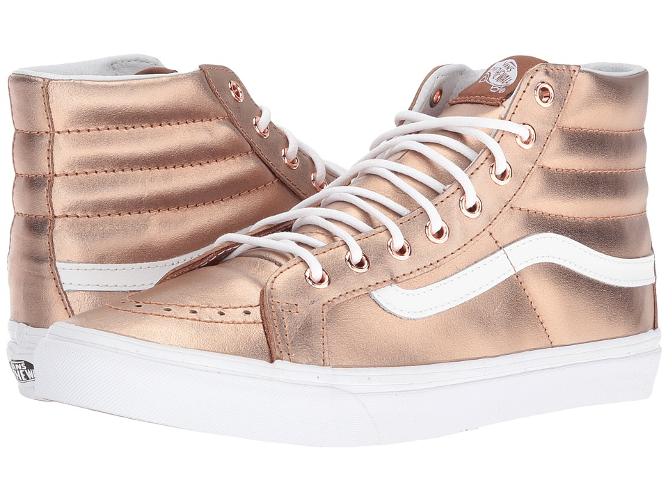 Vans - SK8-Hi Slim ((Metallic) Rose Gold/True White) Skate Shoes