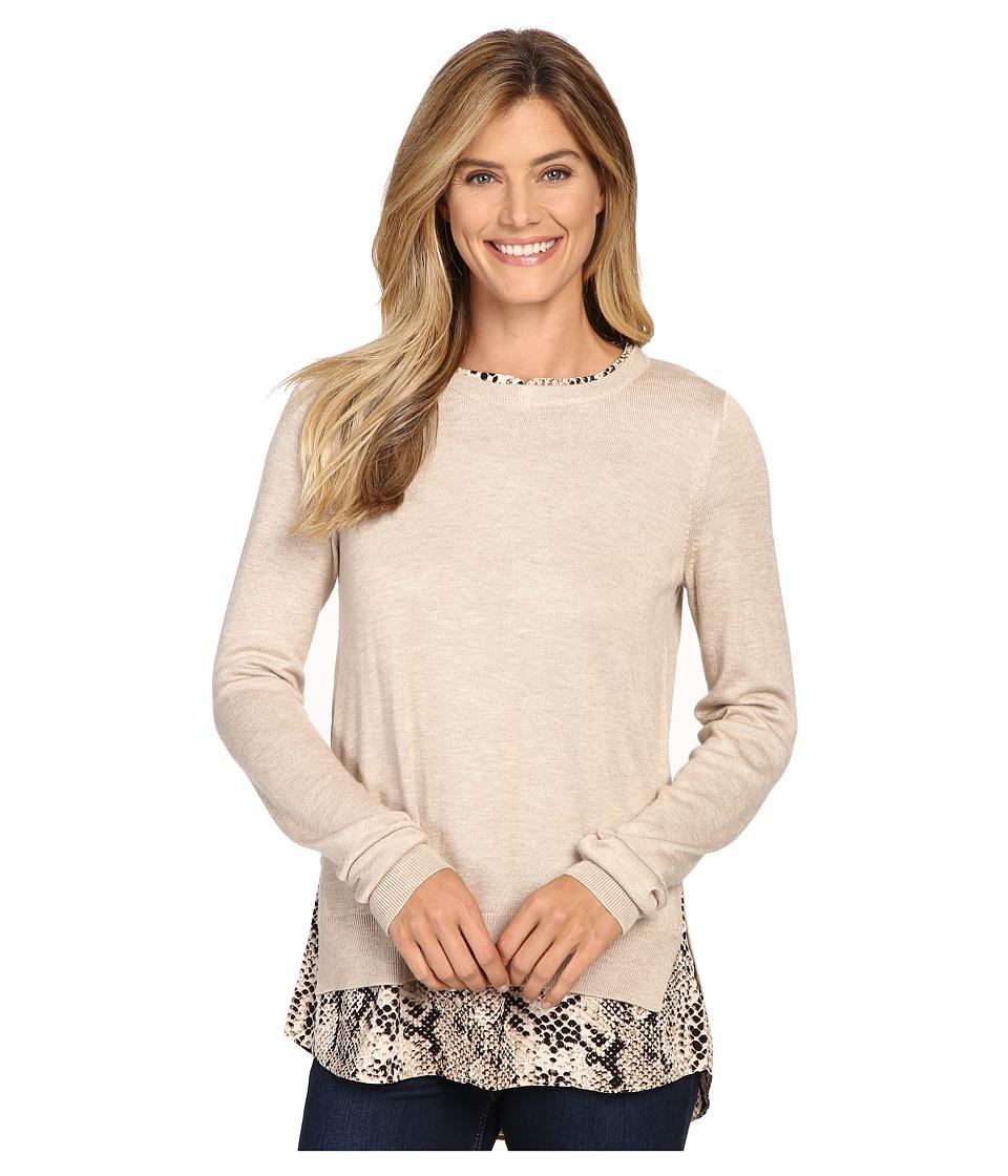 NYDJ - Key Item Mixed Media Sweater (Oatmeal Victorian Python) Women's Sweater