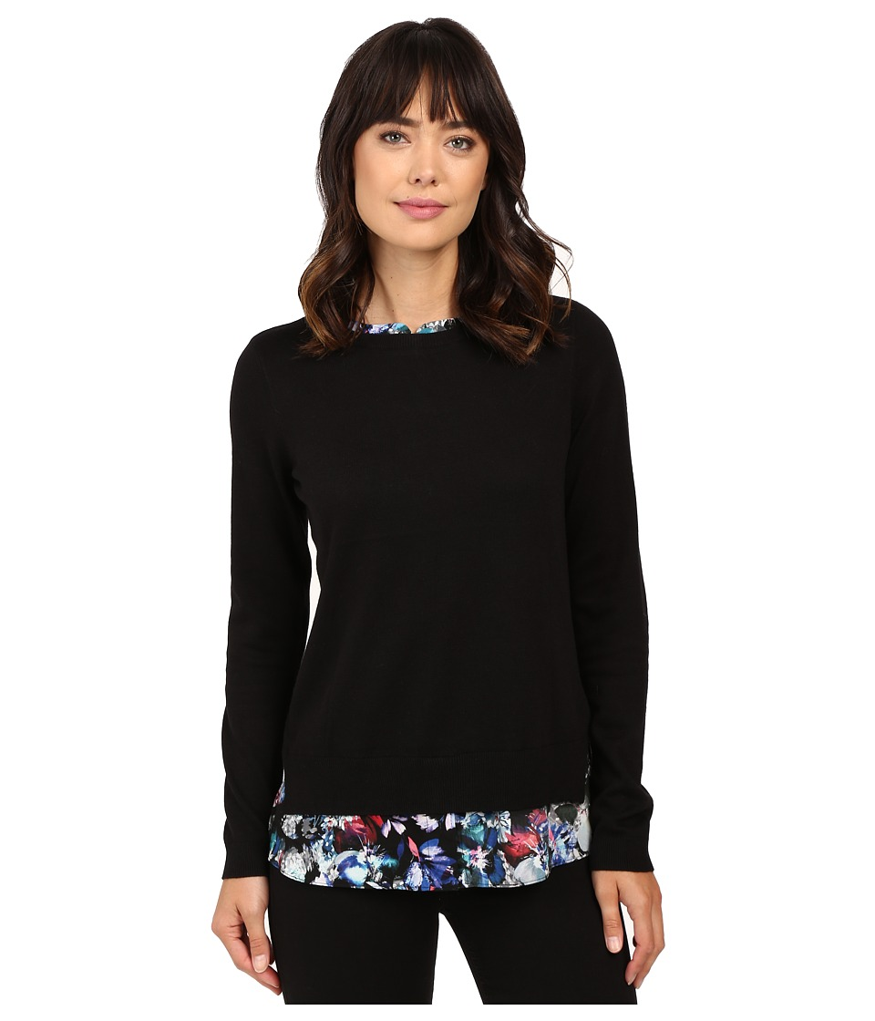 NYDJ - Key Item Mixed Media Sweater (Bountiful Gardens Blue Velvet) Women's Sweater