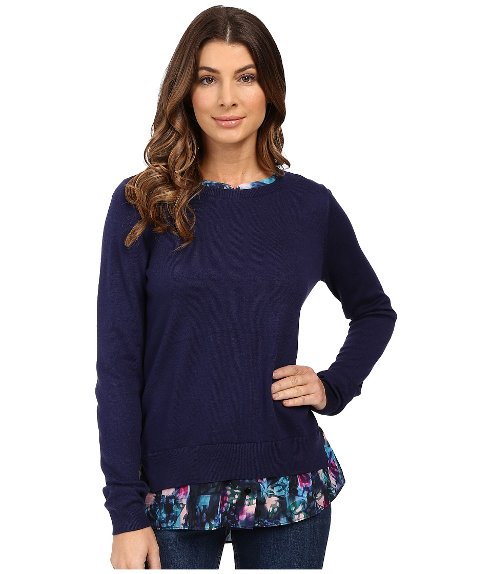 NYDJ - Key Item Mixed Media Sweater (Dazzling Butterflies Blue Violets) Women's Sweater