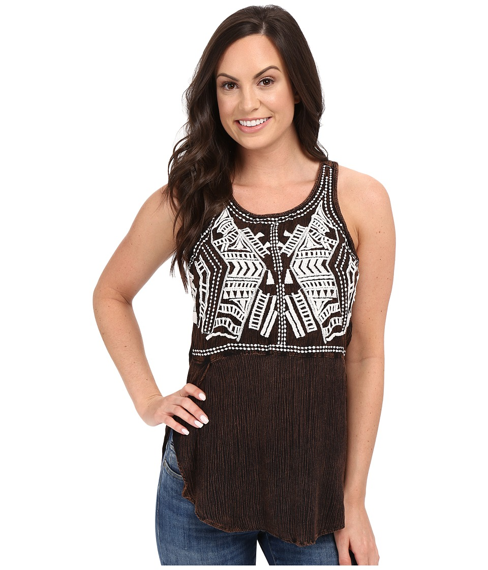 Scully - Honey Creek Electra Embroidered Tank Top (Chocolate) Women's Sleeveless