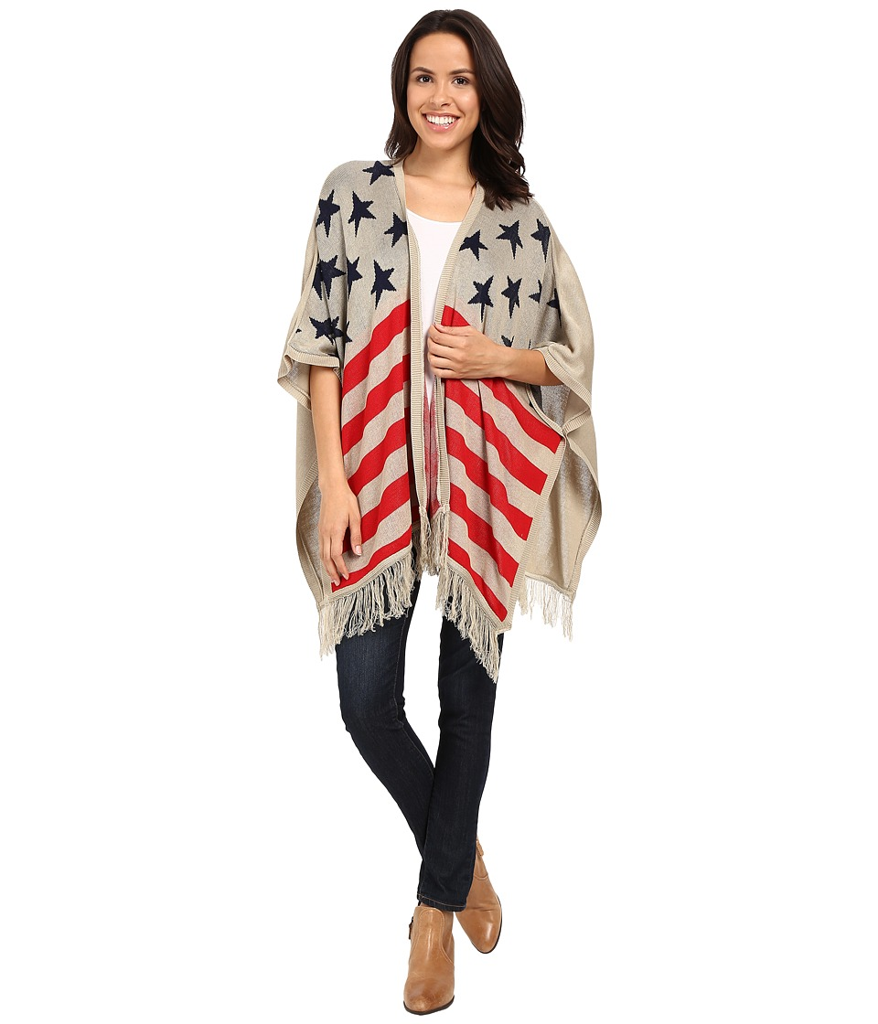 Scully - Honey Creek Patriot Flag Kabuki Fringe Sweater (Red/White/Blue) Women's Sweater