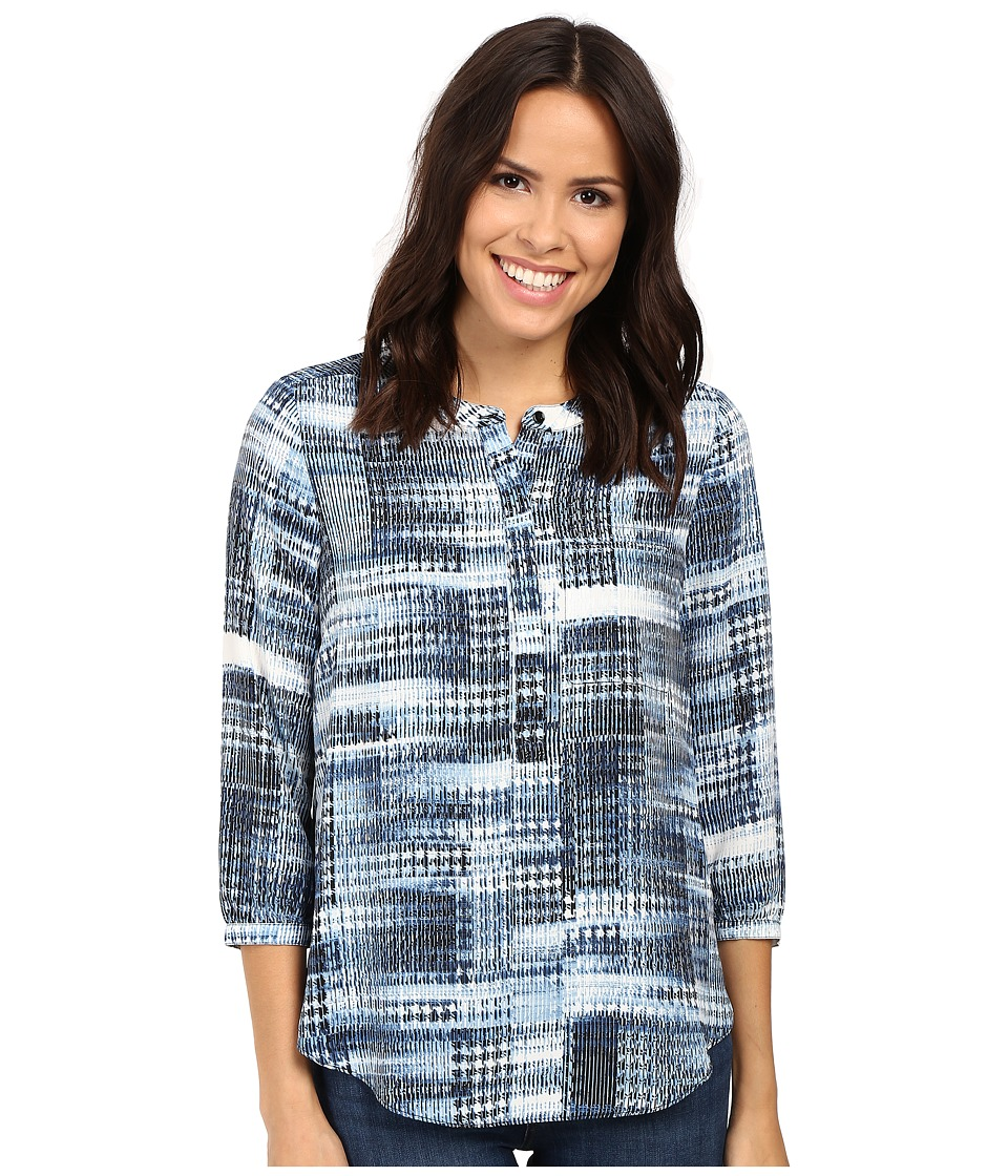 NYDJ - 3/4 Sleeve Pleat Back (Lady Luck Houndstooth Blue) Women's Blouse