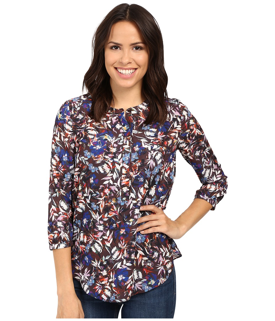 NYDJ - 3/4 Sleeve Pleat Back (Floral Memoirs Chocolate) Women's Blouse